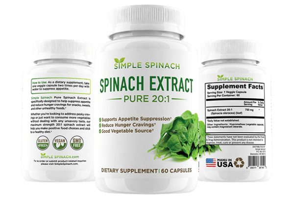 Simple Spinach | Spinach Extract - Pure 20:1 - 60 Capsules